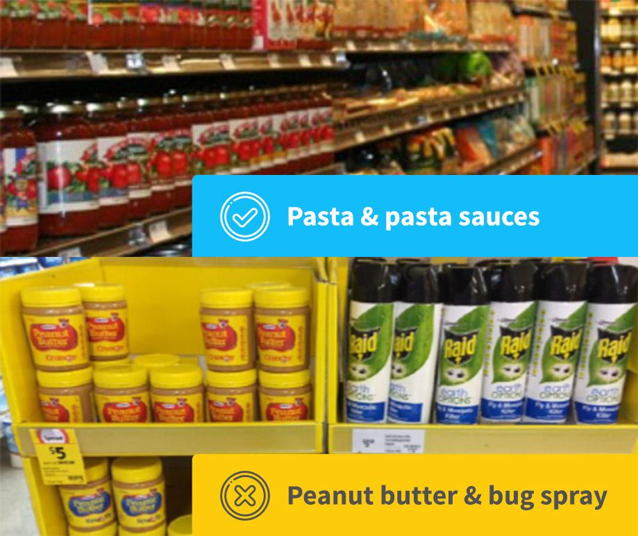 Category adjacent in shelves