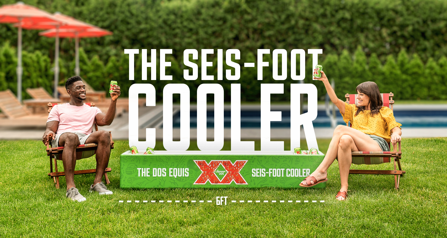 Dos Equis beer seis-foot cooler social distancing promo
