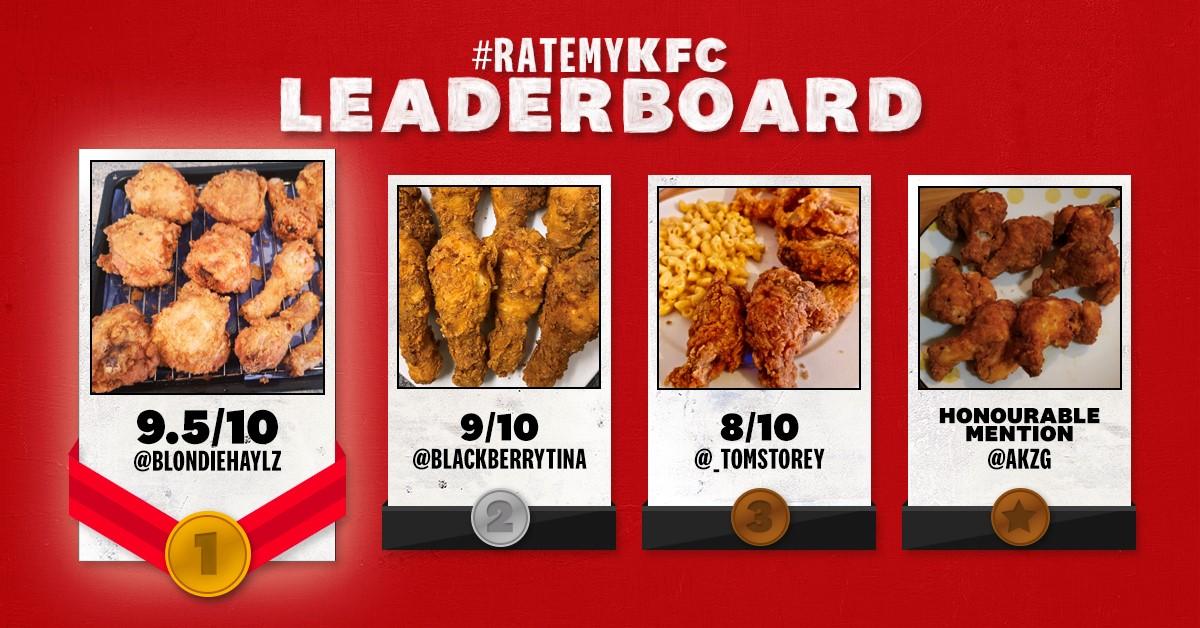 #ratemykfc Twitter lockdown challenge leaderboard