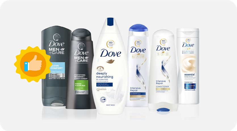 Decrease the use of virgin plastic, Dove products