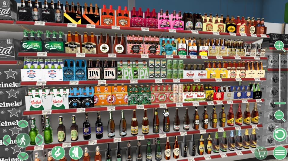Special beer shelf in french supermarket