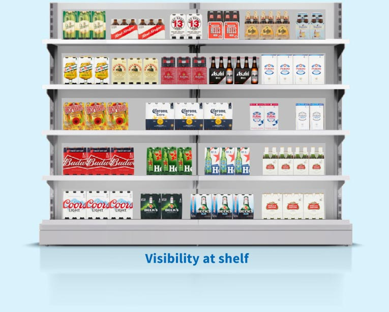 Asahi package visibility at shelf